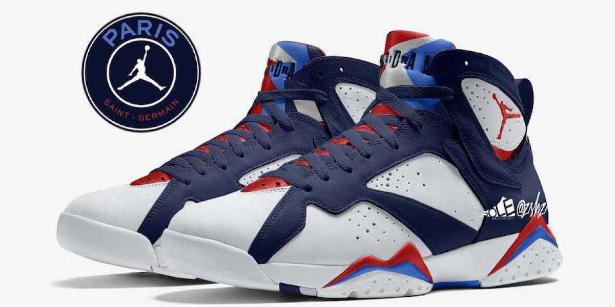 "2021 Latest Air Jordan 7 Retro ""PSG"" Basketball Shoes CZ0789-105"